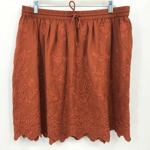 LOFT Skirt Large Copper Floral Embroidered NWT
